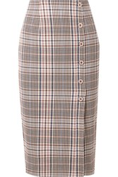 Veronica Beard Melor Checked Cotton Blend Midi Skirt Multi