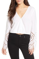 Bardot Women's Daydreamer Embroidered Cotton Crop Top Orchid White