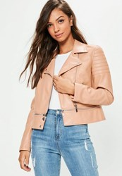 Missguided Pink Faux Leather Cropped Zip Off Biker Jacket