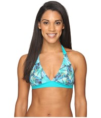 Prana Lahari Halter Top Emerald Pinwheel Women's Swimwear Blue