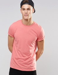 Asos T Shirt With Roll Sleeve In Pink Marl Tea Rose Marl