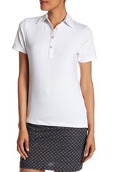 Peter Millar Short Sleeve Print Trimmed Polo White