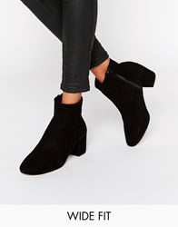 Dune Wide Fit Pebble Black Suede Heeled Ankle Boots Black Suede