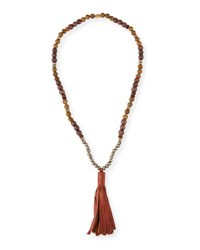 Akola Beaded Pyrite And Wood Tassel Necklace Brown Green