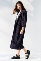 Urban Outfitters Uo Pinstripe Long Coat Blue Multi