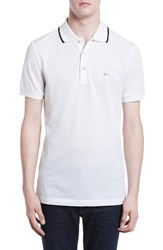 Burberry Men's Adley Tipped Collar Polo White