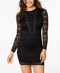 Material Girl Juniors' Lace Up Bodycon Dress Caviar