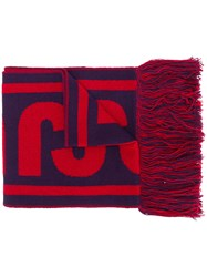 Just Cavalli Fringed Intarsia Scarf Pink And Purple