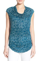 Women's Halogen Drape Neck Sleeveless Top Blue Pink Fusion Print