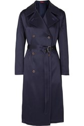Sies Marjan Sigourney Double Breasted Satin Twill Trench Coat Navy