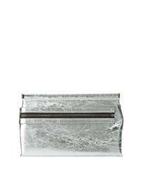 Tom Ford Flat Metallic Leather East West Frame Clutch Bag Silver