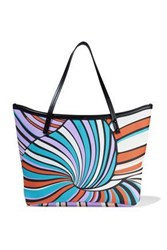Emilio Pucci Woman Twist Leather Trimmed Printed Coated Canvas Tote Black