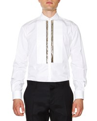 Dsquared2 Long Sleeve Evening Shirt With Gold Bib White