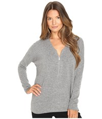 The Kooples Sweater With A Zip Neckline In Wool And Cashmere Grey