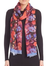 Bindya Fall Floral Cashmere And Silk Scarf Pink Multi