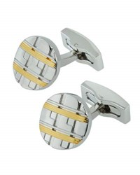 Hickey Freeman Two Tone Ridged Oval Cuff Links Silver
