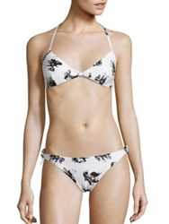 Proenza Schouler Two Piece Falling Flowers Bikini White