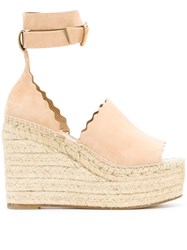 Chloe Scalloped Wedge Sandals Leather Nude Neutrals