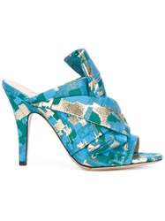 Gianluca Capannolo Patterned Heeled Mules Women Cotton Leather Pvc 40 Blue