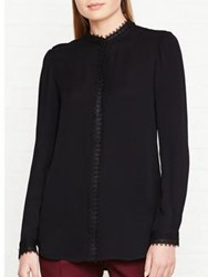 Reiss Marissa Long Sleeve Lace Trim Blouse Black