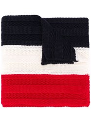 Moncler Colour Block Knit Scarf Red