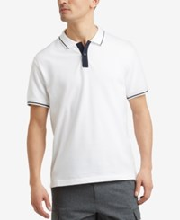 Kenneth Cole New York Men's Tipped Polo White