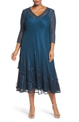 Komarov Plus Size Women's Embellished Chiffon And Lace Dress