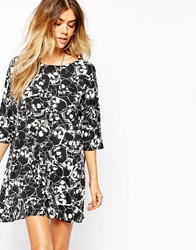 Noisy May Tunic Dress With Skull Print Black