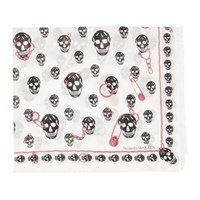 Alexander Mcqueen White And Black Pinned Skull Scarf