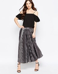Liquorish Pleated Skirt Gunmetal Silver