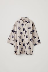 Cos Printed Wide Fit Shirt Beige
