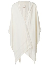 Caravana Hooded Frayed Edge Shawl Cotton Nude Neutrals