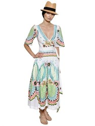 Temperley London Embroidered Cotton Muslin Wrap Dress
