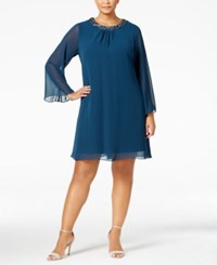 Si Fashions Sl Plus Size Embellished Shift Dress Mid Teal