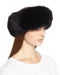 Surell Fox Fur Headband Black
