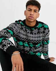 Another Influence Dinosaur Knitted Jumper Black