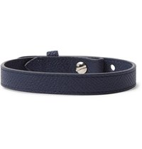 Dunhill Cross Grain Leather Bracelet Navy