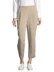Lafayette 148 New York Solid Pleated Front Silk Trousers Khaki