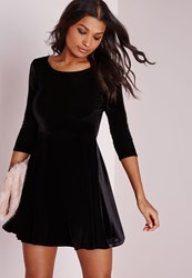 Missguided 3 4 Sleeve Velvet Skater Dress Black Black