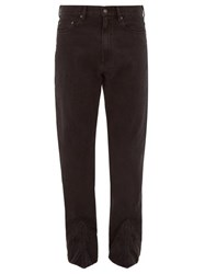 Y Project Bootstrap Cuff Panel Straight Leg Jeans Black