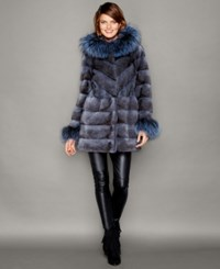 The Fur Vault Fox Fur Trim Hooded Mink Fur Coat