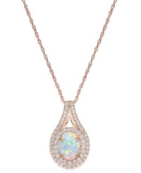Macy's Lab Created Opal 1 Ct. T.W. And White Sapphire 3 4 Ct. T.W. Pendant Necklace In 14K Rose Gold Plated Sterling Silver