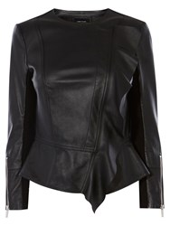 Karen Millen Leather Drape Front Jacket Black
