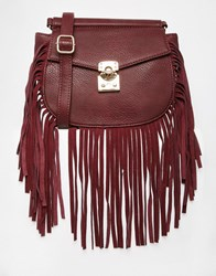 Glamorous Across Body Bag With Fringing Burgundy Red