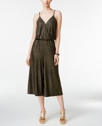 Thalia Sodi Metallic Chain Strap Culotte Jumpsuit Only At Macy's Gold Combo