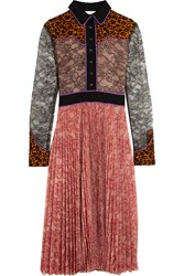 Gucci Lace And Plisse Georgette Dress Pink