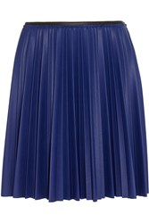 Cedric Charlier Color Block Pleated Faux Leather Mini Skirt Blue