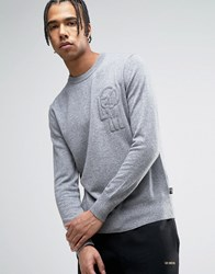 Love Moschino Embroidered Chest Logo Jumper Grey