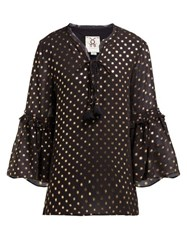 Figue Poet Foil Print Crepe Blouse Black Gold