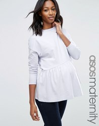 Asos Maternity Top With Exaggerated Ruffle Hem And Long Sleeve Blue